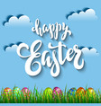 multi colored easter eggs in grass against the vector image