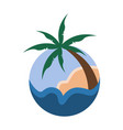 palm trees tropical circular sign travel island vector image vector image
