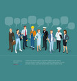 people crowd with speech bubbles vector image vector image