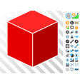 red isometric cube cards with bonus vector image