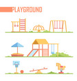 set of playground elements - modern cartoon vector image