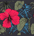 tropical exotic flowers and leaves seamless vector image vector image