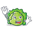 waving lettuce character cartoon style vector image vector image