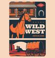 western american legend wild west saloon texas vector image