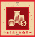 stack of coins with dollar symbol vector image