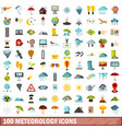 100 meteorology icons set flat style vector image vector image