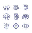 5g network technology line icons on white vector image