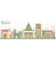 Abstract Rabat Skyline with Color Buildings vector image vector image