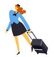 air hostess or stewardess flight attendant vector image