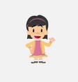 asian girl waving happy vector image