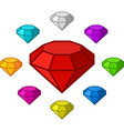 Cartoon diamonds icons set vector image vector image