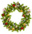 christmas fir wreath with golden stars vector image