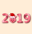 christmas pig portrait in santa hat symbol vector image