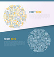 craft beer concept in circle with thin line icons vector image vector image