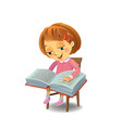 cute girl reading book vector image