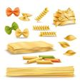 Dry Pasta Assortment Realistic Icons Set vector image vector image