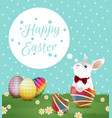 easter egg and bunny on polka dot vector image vector image