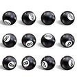 eight ball set of realistic 8 ball isolated vector image vector image