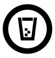 glass with ice black icon in circle vector image vector image