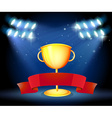 Golden trophy and red ribbon vector image vector image