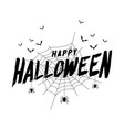 happy halloween text banner with bat and spider vector image vector image