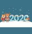 happy new year 2020 celebration cute deer squirrel vector image vector image