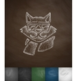 hipster raccoon icon Hand drawn vector image