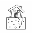House after an earthquake icon outline style vector image vector image