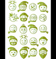 icons set 20 smiles winter green half vector image