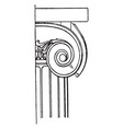 ionic capital spiral curves vintage engraving vector image vector image