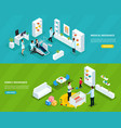 isometric insurance service horizontal banners vector image vector image