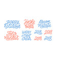merry christmas and happy new year line art text vector image vector image