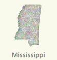 Mississippi line art map vector image vector image
