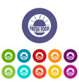 new fresh food icons set color vector image vector image