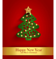 New Year greeting card with silhouette of vector image vector image