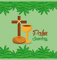 palm sunday cross bread branch border green vector image vector image