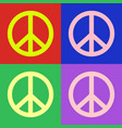 peace symbol pop art colorful design vector image vector image
