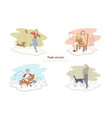 people and pets man walking with dog woman vector image vector image