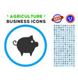 piggy rounded icon with set vector image