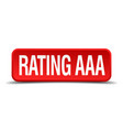 rating aaa red 3d square button isolated on white vector image
