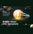 realistic 3d ideas site template with lamp vector image vector image