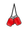 scribble hanging boxing gloves vector image