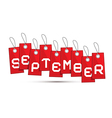 September Red Discount Sale Paper Label Tag With vector image vector image