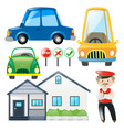 set of cars and house vector image