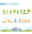 set of city elements - modern cartoon vector image