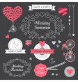 Set wedding vintage hand drawn invitation vector image