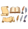 sketch icons old vintage books stationery vector image