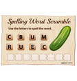 spelling word scramble game with word cucumber vector image vector image