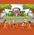 student playing basketball at school vector image vector image