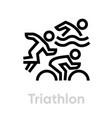 triathlon sport icons vector image